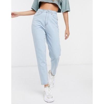 ウェンズデーガール レディース デニムパンツ ボトムス Wednesday's Girl high waist straight leg jeans in light wash