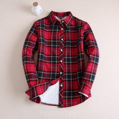 チェックシャツレディース長袖裏起毛防寒暖かいカジュアルフェミニンアウター羽織秋冬