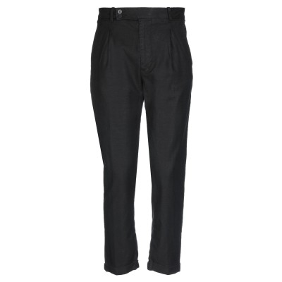 EN AVANCE パンツ ブラック 46 コットン 75% / リネン 24% / ポリウレタン 1% パンツ