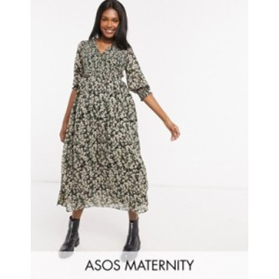 エイソス レディース ワンピース トップス ASOS DESIGN Maternity midi smock dress with shirred cuffs in floral print Dark based flo