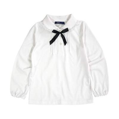 子供服 女の子 キッズ ブラウス リボン付き 長袖 白 1114 天竺ニット 綿100% 通年 100 110 120 130 フォーマル