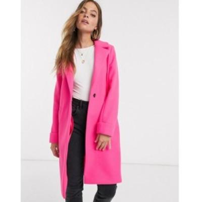 リバーアイランド River Island Petite レディース コート アウター single breasted boyfriend coat in pink ブライトピンク