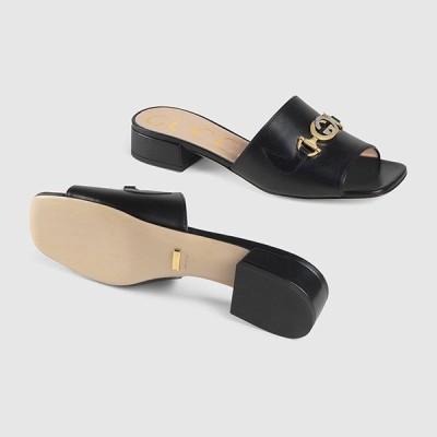 グッチ GUCCI☆Gucci Zumi leather slide sandalサンダル【602415 C9D00 1000 】【送料無料】【正規品】