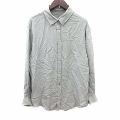 【中古】セオリーリュクス theory luxe シャツ ブラウス 絹 シルク 長袖 38 緑 グリーン  /YK レディース