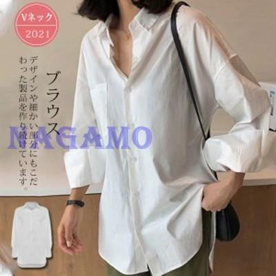 送料無料 シャツ ブラウス チュニックシャツ ロングシャツ 無地 長袖 ホワイト 白 ロング丈 ロールアップ レディース 体型カバ
