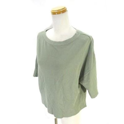 【中古】グリーンレーベル GREEN LABEL Tシャツ カットソー 半袖 スリット 無地 カーキ  レディース 【ベクトル 古着】