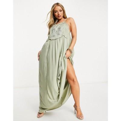 エイソス ASOS DESIGN レディース ビーチウェア ワンピース・ドレス 水着・ビーチウェア Applique Bib Detail Maxi Beach Dress カーキ