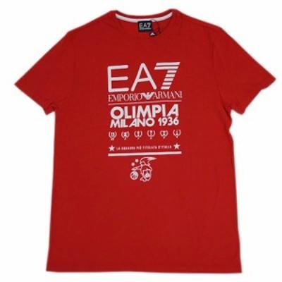 アルマーニ Tシャツ メンズ エンポリオ アルマーニ 丸首 半袖 EA7 OLIMPIA MILANO 1936 プリント レッド/ホワイト Sサイズ 17709