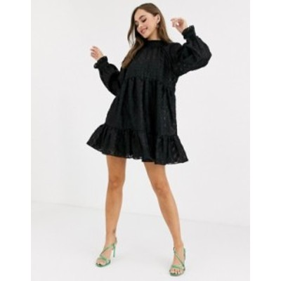 エイソス レディース ワンピース トップス ASOS DESIGN high neck tiered mini smock dress in textured organza Black