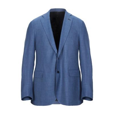 EDDY MONETTI テーラードジャケット ブルー 54 バージンウール 64% / シルク 21% / リネン 15% テーラードジャケット