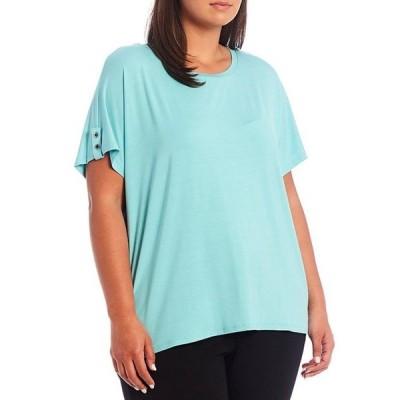 カルバンクライン レディース Tシャツ トップス Plus Size Knit Button-Tab Dolman Sleeve Scoop Neck Hi-Low Top
