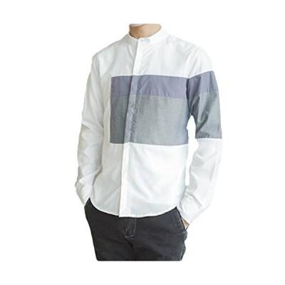 SUNNUY メンズ シャツ 長袖 おしゃれ 白 ビジネス ストライプ カジュアル おしゃれ v襟 切り替え 春夏 大きいサイ