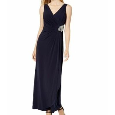 Calvin Klein カルバンクライン ファッション ドレス Calvin Klein Womens Blue Size 8 Embellished Ruched V-Neck Gown Dress