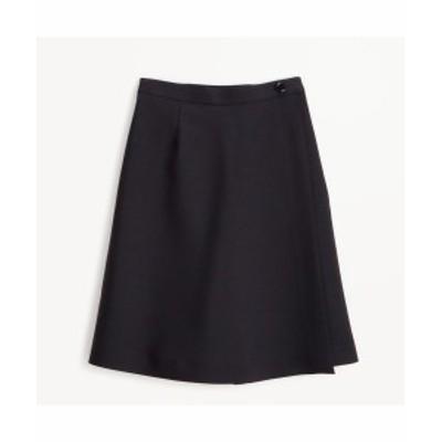 パンツ 大きいサイズ レディース ラップ スカート 風 キュロット  黒 ウエスト96~138cm ニッセン