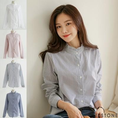 [韓国ファッション]フリルスタンドシャツ