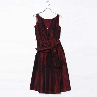ジュネビビアン Genet Vivien ベルト付き刺繍ドレス (ワインレッド)