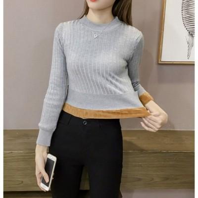 レディースセーター 裏起毛 一枚でスッキリ 保温 冷え対策 シンプル セーター ニット 長袖ニット