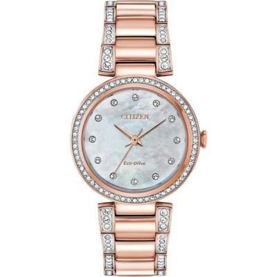 シチズン レディース 腕時計 アクセサリー Eco-Drive Women's Silhouette Pink Gold-Tone Stainless Steel & Crystal Bracelet Watch 28mm