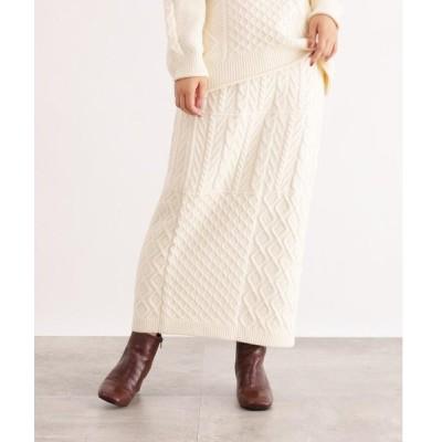 OZOC / オゾック [洗える]ケーブルニットスカート
