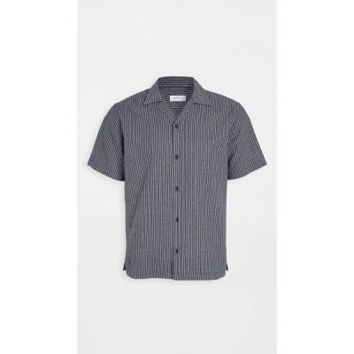 サタデーニューヨーク Saturdays NYC メンズ 半袖シャツ トップス canty indigo stripe short sleeve shirt Indigo