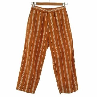 【中古】ウェルダー WELLDER イージーパンツ Drawstring Easy Trousers ストライプ AMBERカラー オレンジ系 白 茶 3
