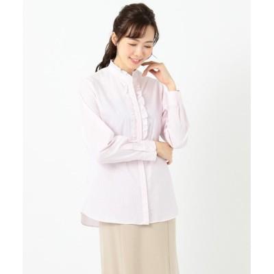 【組曲(小さいサイズ)】 ストレッチシャーティング フリルシャツ レディース ピンク系1 S1 KUMIKYOKU(S SIZE)