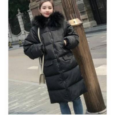シンプル オフィス レディース ロングコート ダウンジャケット 着痩せ 撥水 大きいサイズあり 無地 厚手 フード付き aライン e063