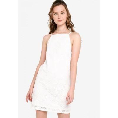 ザローラ ヤング ZALORA YOUNG レディース パーティードレス シフトドレス ワンピース・ドレス Straight Neck Lace Shift Dress Off White