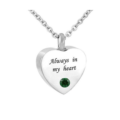 CLY Jewelry - Always in My Heart - Love Heart Shape 誕生石 ジャンガーネット レッド 骨壺 遺灰