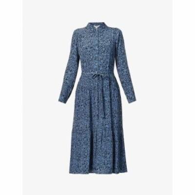 ホイッスルズ WHISTLES レディース ワンピース ミドル丈 ワンピース・ドレス Floral-print woven midi dress Blue