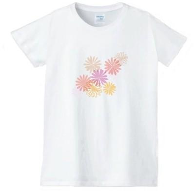 花 フラワー Tシャツ 白 レディース 女性用 jfw43