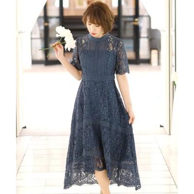 (PourVous/プールヴー)フィッシュテールオールレース ロングスカート/結婚式ワンピース お呼ばれ・二次会・セレモニー大きいサイズ対応フォーマルパーティードレス/レディース ブルー