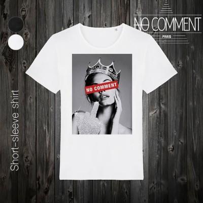 NO COMMENT PARIS ノーコメントパリ 半袖 Tシャツ ブラック ホワイト ラウンドネック Vネック メンズ レディース クイーン クラウン queen crown - LTN189