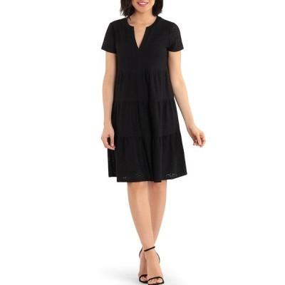 ロンドンタイムス レディース ワンピース トップス Short Sleeve V-Neck Three Tier Dress Black