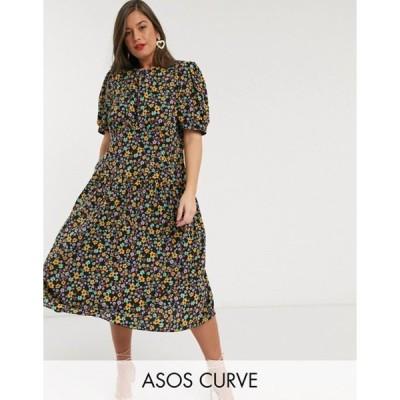 エイソス レディース ワンピース トップス ASOS DESIGN Curve midi tea dress with dropped waist in floral print