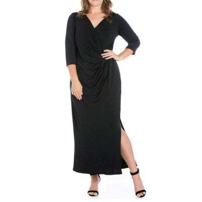 24セブンコンフォート レディース ワンピース トップス Women's Plus Size Side Slit Maxi Dress