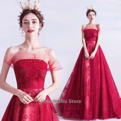 ワイン赤パーティードレス二次会お呼ばれロングドレスベアトップビスチェドレス高級感キレイめイブニングドレス