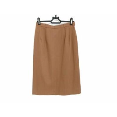 カルヴェン CARVEN スカート サイズ38 M レディース - ブラウン×ダークブラウン ひざ丈/ストライプ【中古】20201114