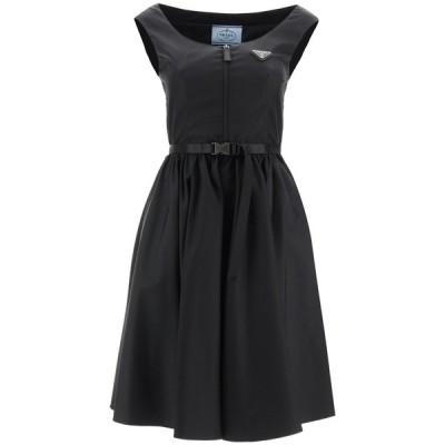 プラダ レディース ワンピース トップス Prada Logo Plaque Belted Flared Dress -