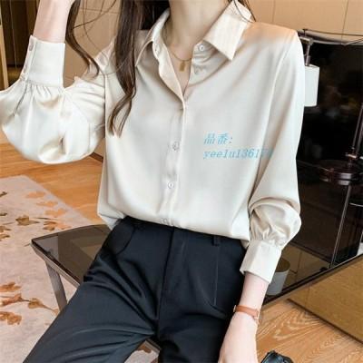 シャツ ブラウス 長袖 大きいサイズ L LL 無地 30代 3L トップス レディース ジョーゼットシフォン オフィスカジュアル ジョーゼットとろみシャツ