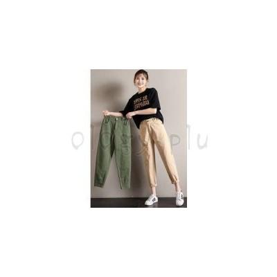 テーパードパンツ カーゴパンツ レディース 9分丈 無地 着痩せ ゆったり 小さいサイズ 低身長向け 美脚 ボトムス カジュアル 春物 春 新作 2020