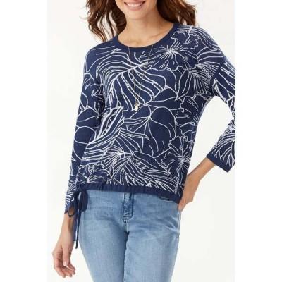 トッミーバハマ レディース ニット&セーター アウター Island Bloom Jacquard Tie Hem Sweater ISLAND NAV