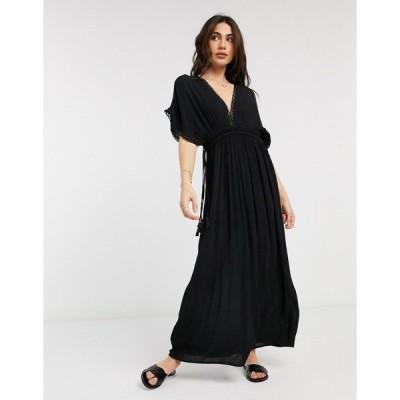 アクセサライズ マキシドレス レディース Accessorize lace trim maxi dress in black エイソス ASOS ブラック 黒