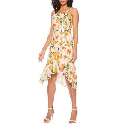 パーカー レディース ワンピース トップス Millie Asymmetrical Orange-Print Flounce Dress