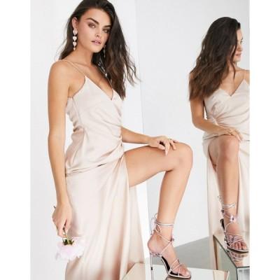 エイソス マキシドレス レディース ASOS EDITION satin cami maxi dress with drape detail in pink エイソス ASOS ピンク