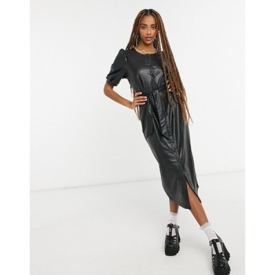 オンリー レディース ワンピース トップス Only midi dress in black faux leather Black
