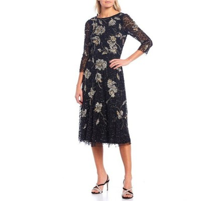 アドリアナ パペル レディース ワンピース トップス 3/4 Sleeve Floral Beaded Mesh Midi Dress Black/Gold