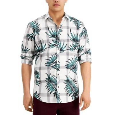 アイエヌシーインターナショナルコンセプト メンズ シャツ トップス INC Men's Regular-Fit Plaid Botanical-Print Shirt,  White Pure