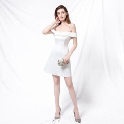 パーティードレス 安い 可愛い ミニドレス イブニングドレス 2次会 ナイトクラブ キャバ Aライン キャミソール オフショルダー