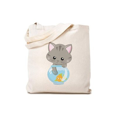Custom Canvas Tote Reusable Shopping Bag Cat Gray Lover Kitty B Baby Clipart Beach Bags for Kids Cats Gifts Natural Design Only【並行輸入品】